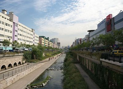 streets, architecture, Korea, canal - related desktop wallpaper