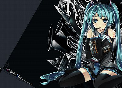 Vocaloid, Hatsune Miku, twintails, detached sleeves - related desktop wallpaper