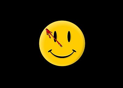Watchmen, smiley face, black background - random desktop wallpaper