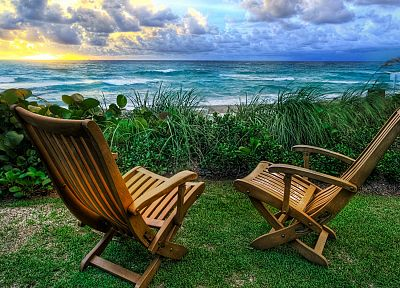 chairs, beaches - random desktop wallpaper