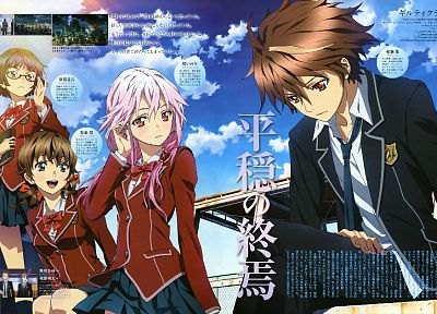 school uniforms, Guilty Crown, Ouma Shu, Kusama Kanon, Menjou Hare, Yuzuriha Inori - related desktop wallpaper