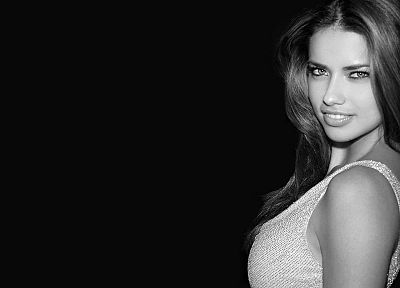 women, Adriana Lima, monochrome - random desktop wallpaper