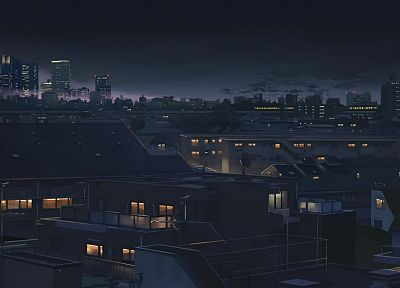 cityscapes, night, buildings, Makoto Shinkai, 5 Centimeters Per Second, anime, cities - related desktop wallpaper