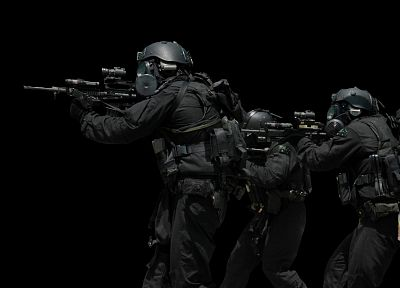 rifles, soldiers, black, guns, gear, helmet, SWAT, gas masks, Commando, Australian Military - random desktop wallpaper