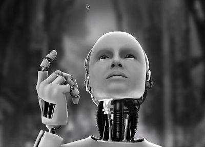 robot, white, robots, Android, technology, machines, monochrome, science fiction, water drops, i Robot, greyscale - related desktop wallpaper