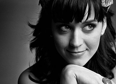 women, Katy Perry, singers, monochrome, greyscale - related desktop wallpaper