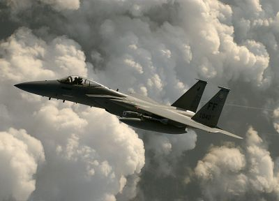 clouds, aircraft, military, planes, F-15 Eagle - desktop wallpaper