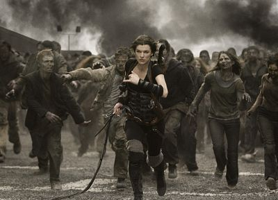brunettes, women, movies, actress, Resident Evil, zombies, models, Milla Jovovich - related desktop wallpaper