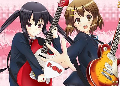 K-ON!, Hirasawa Yui, guitars, twintails, Nakano Azusa, anime - related desktop wallpaper