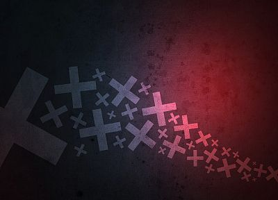 abstract, cross, black, minimalistic, red, digital art, gradient - related desktop wallpaper