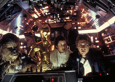 Star Wars, movies, C3PO, falcon, cockpit, Carrie Fisher, Han Solo, Chewbacca, spaceships, Millennium Falcon, Leia Organa, Harrison Ford, vehicles - related desktop wallpaper