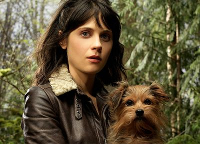 brunettes, women, wizard, actress, animals, dogs, Zooey Deschanel, celebrity, tin, expressionism, Tin Man, faces, black hair - related desktop wallpaper