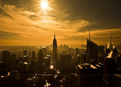 Sun, cityscapes, skylines, buildings - desktop wallpaper