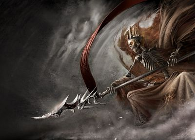 video games, smoke, weapons, skeletons, artwork, spears, banner, Lich, The dark eye - related desktop wallpaper