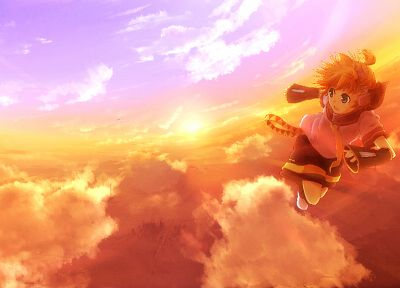 blondes, sunset, Vocaloid, Kagamine Len, skyscapes, detached sleeves - random desktop wallpaper
