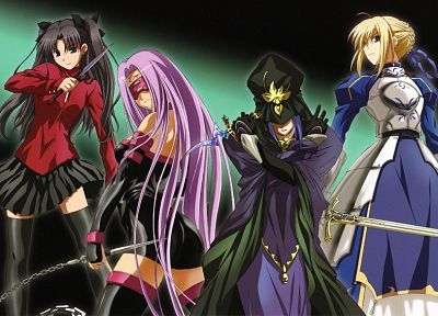 Fate/Stay Night, Tohsaka Rin, anime, Saber, Rider (Fate/Stay Night), Caster (Fate/Stay Night), Fate series - related desktop wallpaper
