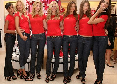 women, jeans, Miranda Kerr, Adriana Lima, models, Heidi Klum, Victorias Secret - related desktop wallpaper