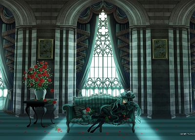 Vocaloid, flowers, Hatsune Miku, long hair, interior, lolita fashion, anime girls - desktop wallpaper