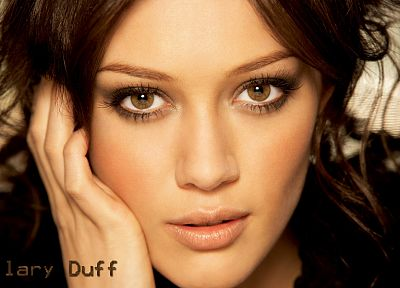 brunettes, women, eyes, lips, Hilary Duff, celebrity, brown eyes, faces - desktop wallpaper