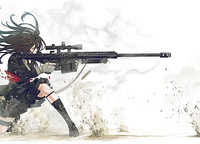 guns, school uniforms, anime, simple background, anime girls, Kozaki Yusuke, original characters - related desktop wallpaper
