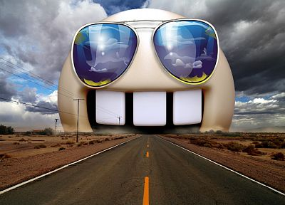 funny, highways, sunglasses, photo manipulation - related desktop wallpaper