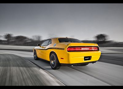 jackets, Dodge Challenger, Dodge Challenger SRT8, yellow cars - random desktop wallpaper