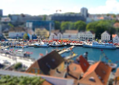 water, cityscapes, ships, rooftops, tilt-shift, harbours - desktop wallpaper