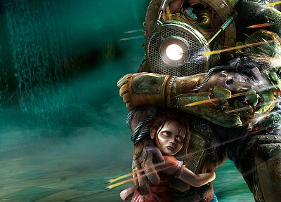 video games, Big Daddy, Little Sister, BioShock - random desktop wallpaper