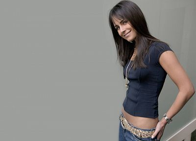 brunettes, women, jeans, actress, Jordana Brewster, smiling, t-shirts - desktop wallpaper