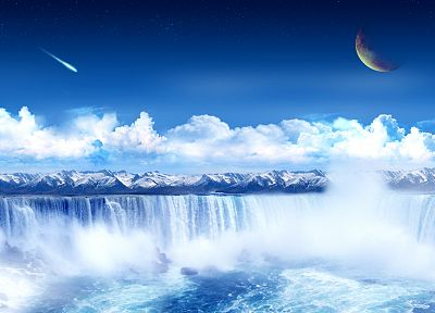 water, clouds, planets, science fiction, meteorite, waterfalls - related desktop wallpaper