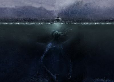 water, ocean, dark, monsters, rain, Cthulhu, ships, HP Lovecraft, digital art, Call Of Cthulu, underwater, split-view, sea, deep - related desktop wallpaper
