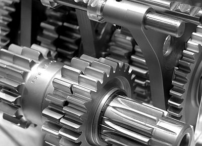 machine, gears, monochrome - random desktop wallpaper