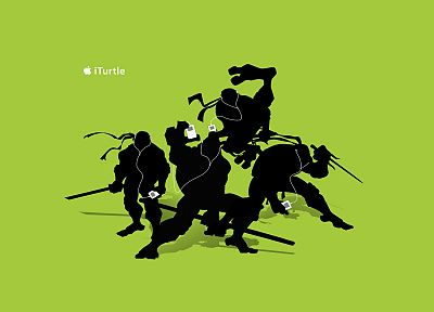 iPod, silhouettes, Teenage Mutant Ninja Turtles, simple background, green background - desktop wallpaper