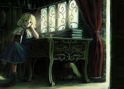 blondes, video games, Touhou, dress, indoors, room, long hair, ribbons, tables, books, short hair, yellow eyes, sunlight, chairs, sitting, curtains, dolls, window panes, Alice Margatroid, hair band, witches - related desktop wallpaper