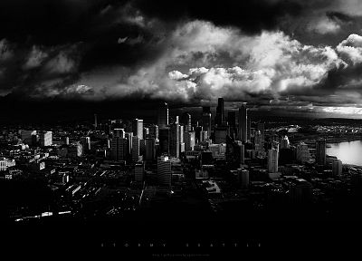 black and white, cityscapes, Seattle, monochrome, cities - desktop wallpaper
