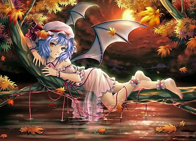 video games, Touhou, wings, vampires, Remilia Scarlet - desktop wallpaper