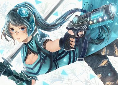 headphones, blue, jeans, guns, gloves, blue eyes, cleavage, glasses, falling down, long hair, belts, weapons, blue hair, armor, meganekko, ponytails, torn clothing, anime girls, gauntlets, swords - related desktop wallpaper