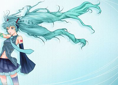 Vocaloid, Hatsune Miku, tie, skirts, long hair, aqua hair, anime girls, detached sleeves - desktop wallpaper