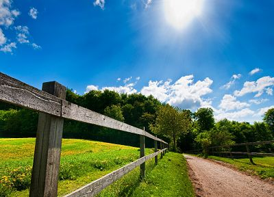 landscapes, nature, fences, roads - desktop wallpaper