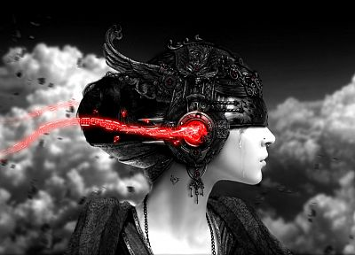 headphones, women, abstract, clouds, selective coloring, 3D, skyscapes, renders - random desktop wallpaper