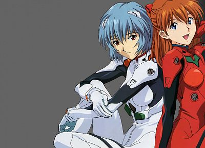 Ayanami Rei, Neon Genesis Evangelion, Asuka Langley Soryu, simple background, anime girls - random desktop wallpaper