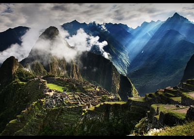 mountains, clouds, landscapes, nature, buildings, Machu Picchu, HDR photography - desktop wallpaper