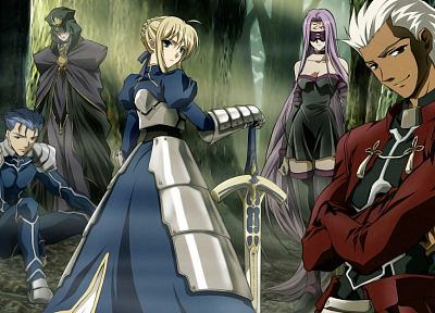 Fate/Stay Night, Saber, Rider (Fate/Stay Night), Archer (Fate/Stay Night), Lancer (Fate/stay night), Caster (Fate/Stay Night), Fate series - random desktop wallpaper