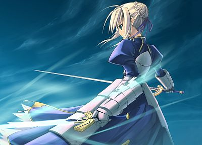 blondes, Fate/Stay Night, dress, green eyes, armor, Green River, Type-Moon, Saber, swords, Fate series, Shingo (Missing Link) - random desktop wallpaper