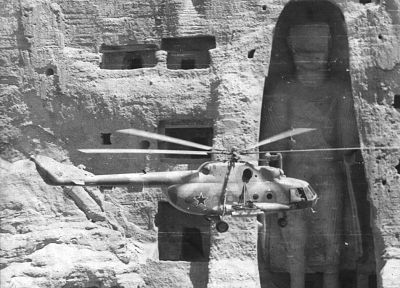 aircraft, helicopters, Soviet, Afghanistan, Buddha, grayscale, statues, monochrome, vehicles, Mi-17 - desktop wallpaper