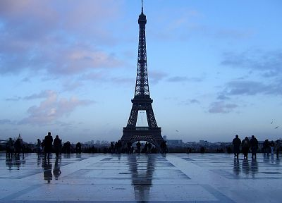 Eiffel Tower, Paris, sunset, rain, France - desktop wallpaper