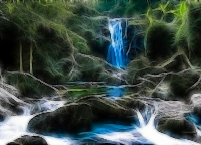 landscapes, nature, Fractalius, waterfalls - random desktop wallpaper