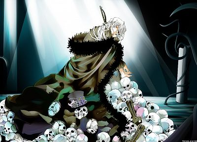 boots, skulls, red eyes, Pandora Hearts, anime, white hair, Xerxes Break, albino, bandages, hats - random desktop wallpaper