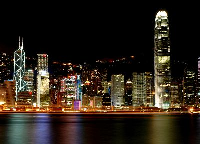water, cityscapes, night, Hong Kong, skyscrapers, city lights, reflections, harbours, Victoria Harbour - random desktop wallpaper