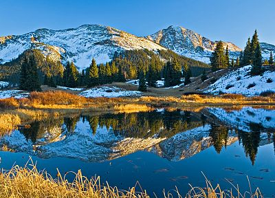 mountains, ponds, Colorado, reflections, Alpine - random desktop wallpaper